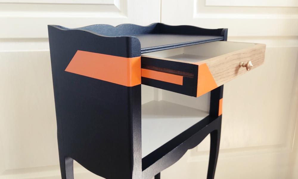 Chevet ancien 1 tiroir, chic branché - KindofWood meubles relooké, upcycling